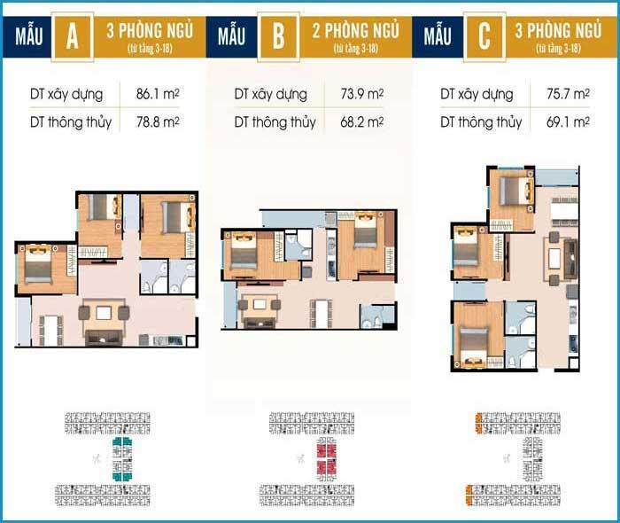 mặt bằng 2 đến 3 phòng ngủ căn hộ River Park Tower